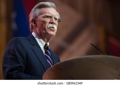NATIONAL HARBOR, MD - MARCH 6, 2014: Former United Nations Ambassador John Bolton speaks at the Conservative Political Action Conference (CPAC).