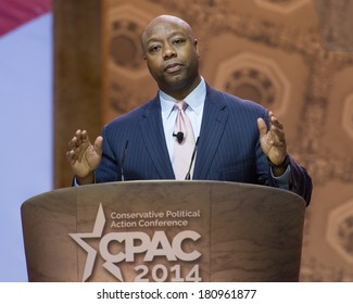 NATIONAL HARBOR, MD - MARCH 6, 2014: Senator Tim Scott (R-SC) speaks at the Conservative Political Action Conference (CPAC).
