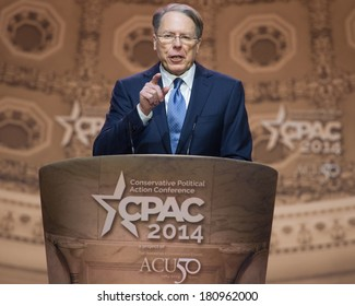 NATIONAL HARBOR, MD - MARCH 6, 2014: Wayne LaPierre, CEO of the National Rifle Association, speaks at the Conservative Political Action Conference (CPAC).
