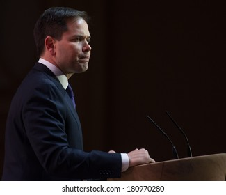 NATIONAL HARBOR, MD - MARCH 6, 2014: Senator Marco Rubio (R-FL) speaks at the Conservative Political Action Conference (CPAC).
