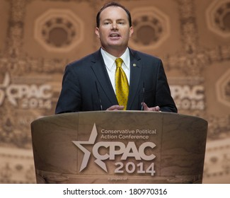 NATIONAL HARBOR, MD - MARCH 6, 2014: Senator Mike Lee (R-UT) speaks at the Conservative Political Action Conference (CPAC).