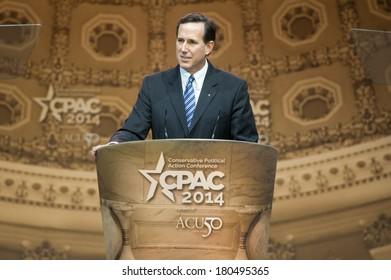 NATIONAL HARBOR, MD - MARCH 7, 2014: Former U.S. Senator Rick Santorum speaks at the Conservative Political Action Conference (CPAC).