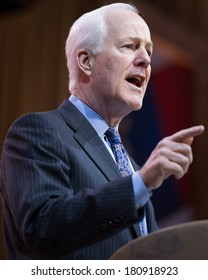 NATIONAL HARBOR, MD - MARCH 7, 2014: Senator John Cornyn (R-TX) speaks at the Conservative Political Action Conference (CPAC).