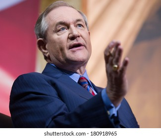 NATIONAL HARBOR, MD - MARCH 7, 2014: Former Virginia Governor Jim Gilmore speaks at the Conservative Political Action Conference (CPAC).