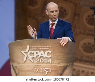 NATIONAL HARBOR, MD - MARCH 8, 2014: British politician Dan Hannan speaks at the Conservative Political Action Conference (CPAC).