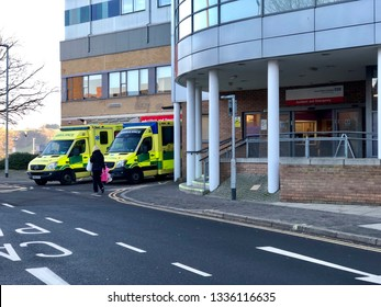 National Health Service, UK - 15th Feb 2019: Emergency department, NHS Ambulance service in, Yeovil District Hospital, UK