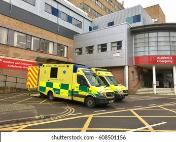 National Health Service, UK - 20th March 2017: View of Emergency department and Ambulance service of an NHS hospital and emergency services, Yeovil District Hospital, UK
