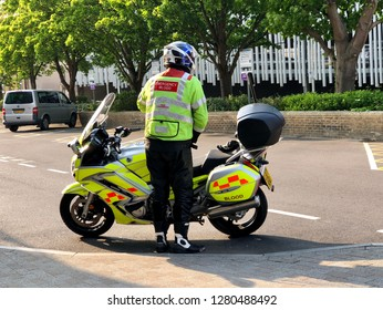 National Health Service, UK - 26th May 2018: Emergency Blood transport Service between acute Hospitals, conceptual image of Healthcare and emergency services, UK