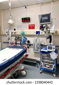 National Health Service, Yeovil, UK - 15th February 2019: Emergency resuscitation room in Accident Emergency department of NHS hospital, Yeovil, UK.