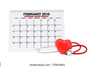 National Heart Month February 2018 Calendar Heart Stethoscope white background