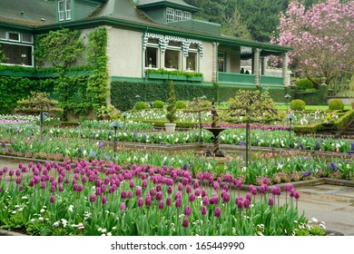 national historical site butchart garden in spring, victoria, british columbia, canada