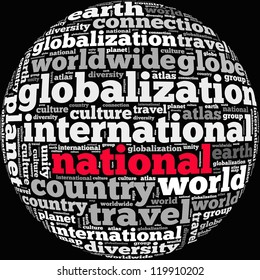 national info-text graphics and arrangement concept on black background (word cloud)