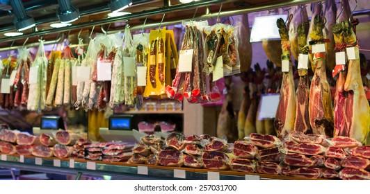 National jamon store at spanish supermarket