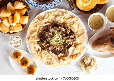 National Kazakh dishes: Beshparmak, Manty, Baursak