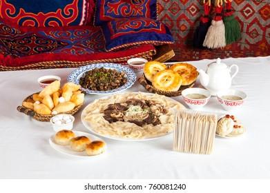 National Kazakh dishes: Beshparmak, Manty, Baursak