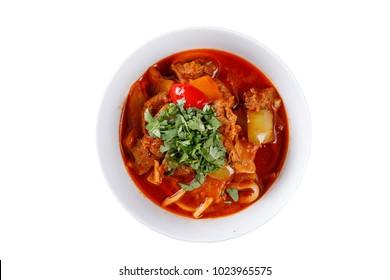 National lagman dish on white background. Isolated.