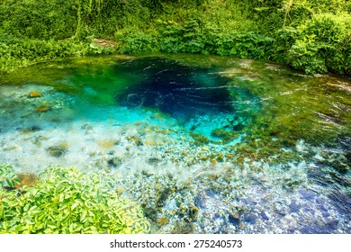 National landmark spring Blue Eye in Albania