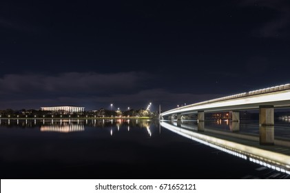 The National Library of Australia, the largest reference library of Australia appear beside Commonwealth Avenue bridge, one of the main bridge to connect traffic in Central of Canberra by night.