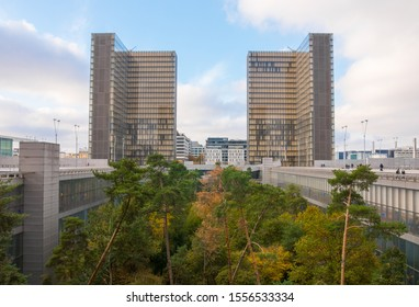 National Library of France (Bibliothèque nationale de France), Paris, 13th arrondissement. One of the largest in the world. Book shape. November 2019. Artificial forest in the middle of the complex.