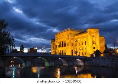 National library, Sarajevo, capital city of Bosnia and Herzegovina, at night