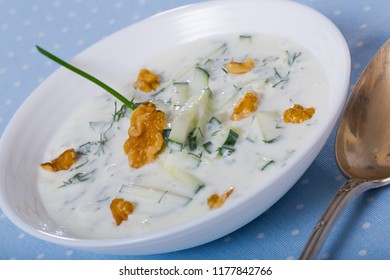 National Macedonian dish Tarator - cold soup from yoghurt and cucumbers