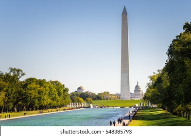 The National Mall and Washington Monument on a Clear Autumn Day. Washington DC, USA