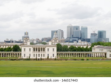 National Maritime Museum, Greenwich, with Canary Wharf in background