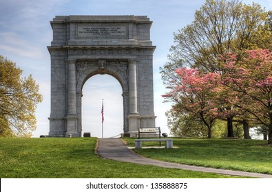 The National Memorial Arch monument dedicated to George Washington and the United States Continental Army.This monument is located at Valley Forge National Historical Park in Pennsylvania,USA.