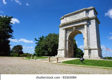 National Memorial Arch monument dedicated to George Washington and the United States Continental Army in historic Valley Forge National Park near Philadelphia  in Pennsylvania