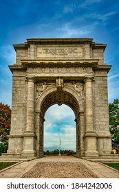 The National Memorial Arch at Valley Forge National Historical Park on a Clear Autumn Day