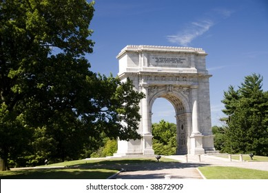 The National Memorial Arch in Valley Forge National Park, Pennsylvania in July