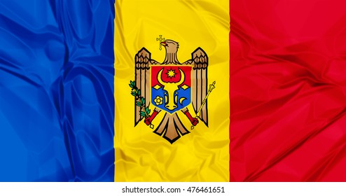 The national Moldova waving flag in 3d background.