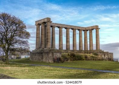 National Monument of Scotland. Pillars on Calton Hill, Edinburgh, Scotland, Uk