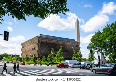 National Museum of African American History and Culture and The Washington Monument in Washington DC, USA on 14 May 2019