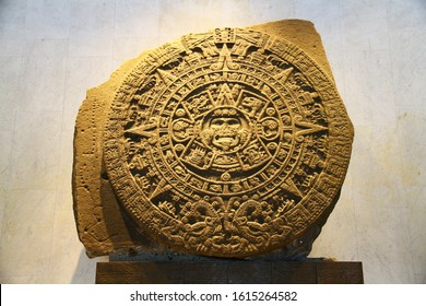 NATIONAL MUSEUM OF ANTHROPOLOGY, MEXICO CITY, MEXICO - 30 May 2019. A view of Aztec Sun Stone, or Aztec Calendar,  which is one of the most iconic artifacts of the museum.