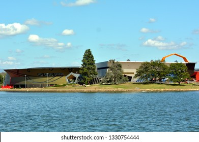The National Museum of Australia Canberra Australian Capital Territory.The museum holds the world's largest collection of Aboriginal bark paintings and stone tool.