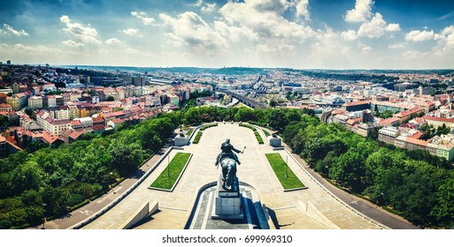 National Museum – National Memorial on the Vítkov Hill city panorama, Prague, Czech republic