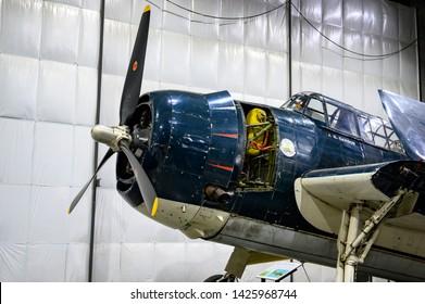 National Museum of World War II Aviation, Colorado Springs, Colorado, USA - 5/2019: Grumman TBF Avenger, a 1942 American torpedo bomber for the Navy and Marine Corps
