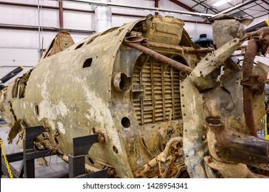 National Museum of World War II Aviation, Colorado Springs, Colorado, USA - 5/2019: Salvaged Republic P-47D-2RE Thunderbolt