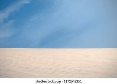 National nature park with dune landscape on the Dutch coast. Landscape with sand dunes, dune grass, blue sky, white clouds and sunlight