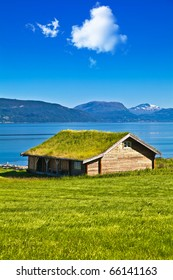 National Norwegian small house with a grass on a roof