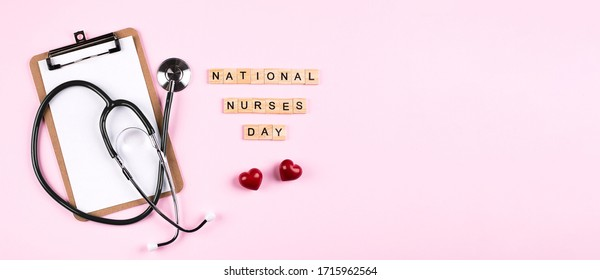 National Nurse Day Concept. Banner Image for design, website. Healthcare medicine concept. Top view, flat lay.