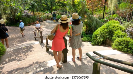 National Orchid Garden/Singapore- 1May, 2018: Two attractive female tourists taking selfie inside theNational Orchid Garden, located within theSingapore Botanic Gardens