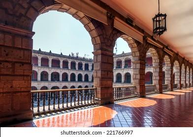 National Palace in Mexico City, Mexico. The building is located on Mexico City's main square, the Plaza de la Constitucion (El Zocalo).