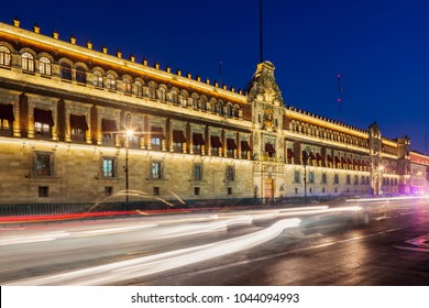 National Palace in Mexico City at night. Mexico City, Mexico.