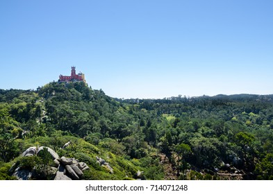 National Palace of Pena, red and yellow castle, Sintra, Portugal