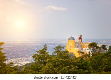 National Palace of Pena at sunset view. Portugal