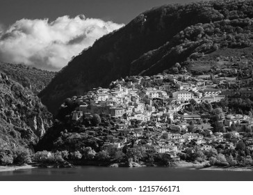National Park of Abruzzo, Lazio and Molise (Italy) - The autumn in the italian mountain natural reserve, with wild animals, little old towns, the Barrea Lake. Here: Barrea village