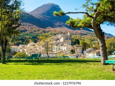 National Park of Abruzzo, Lazio and Molise (Italy) - The autumn in the italian mountain natural reserve, with wild animals, little old towns, the Barrea Lake. Here: Civitella Alfedena village