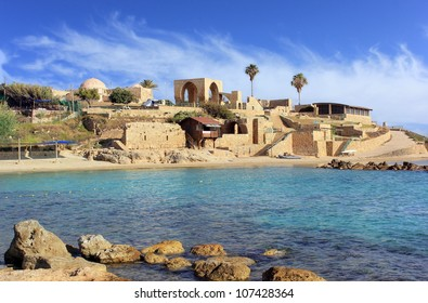 National Park Achziv, view of the ruins of the old Turkish fortress from the the lagoon